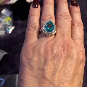 Jewelry - 🆕Sterling Silver CZ  and aqua blue Cocktail Ring